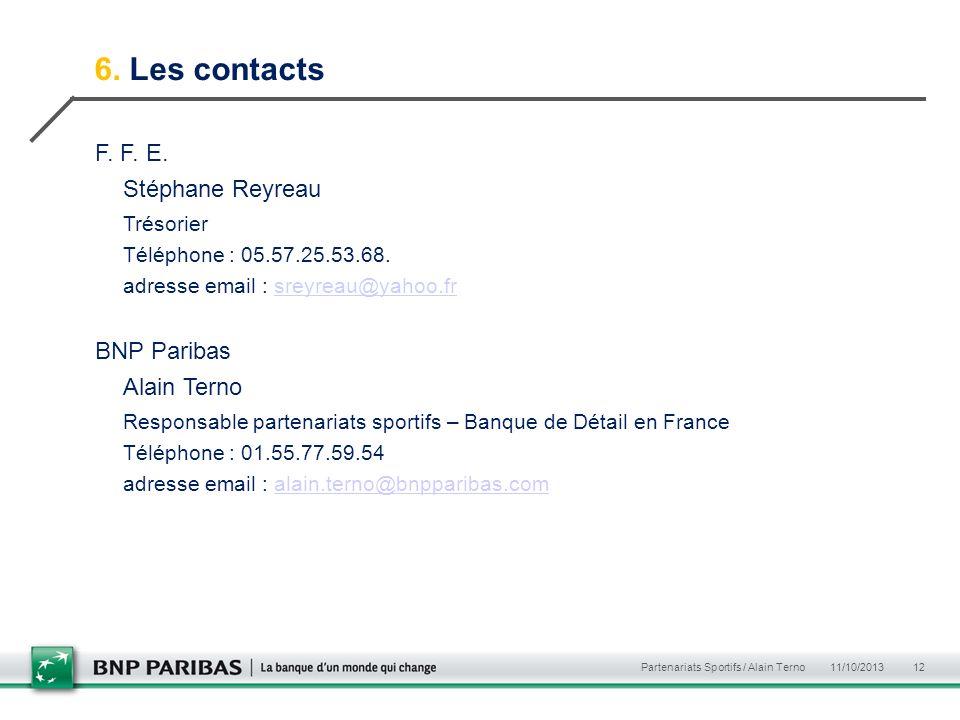 6. Les contacts F. F. E. Stéphane Reyreau Trésorier Téléphone : 05.57.25.53.68. adresse email : sreyreau@yahoo.frsreyreau@yahoo.fr BNP Paribas Alain T