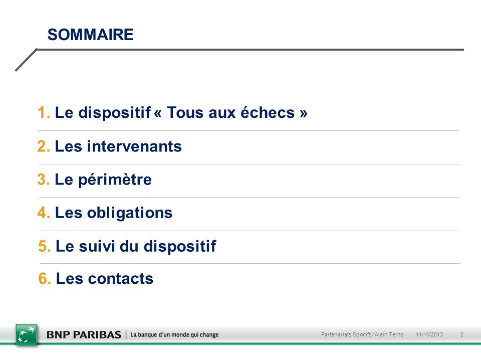 11/10/2013 Partenariats Sportifs / Alain Terno 2 SOMMAIRE 1. Le dispositif « Tous aux échecs » 2. Les intervenants 3. Le périmètre 4. Les obligations