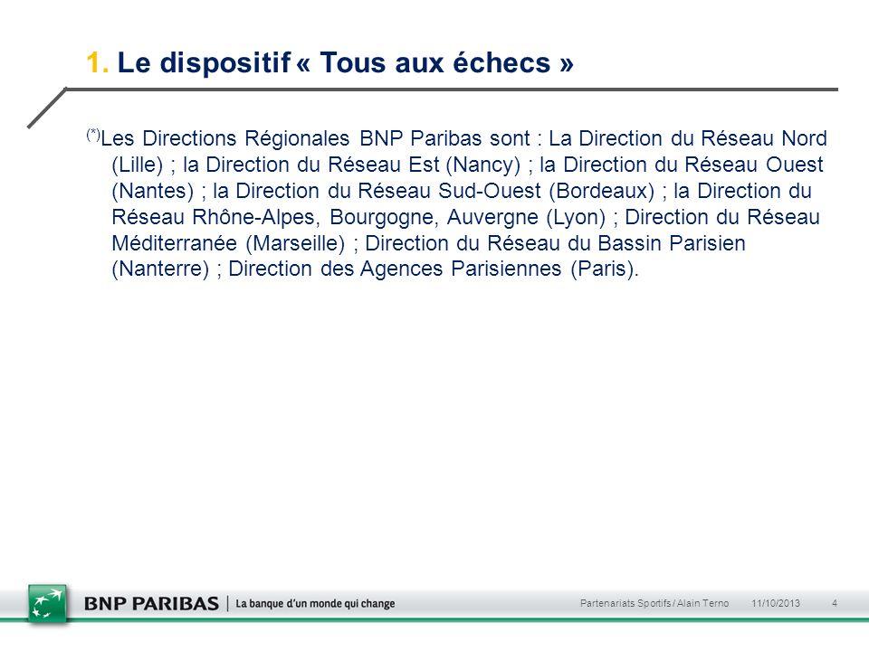 1. Le dispositif « Tous aux échecs » (*) Les Directions Régionales BNP Paribas sont : La Direction du Réseau Nord (Lille) ; la Direction du Réseau Est