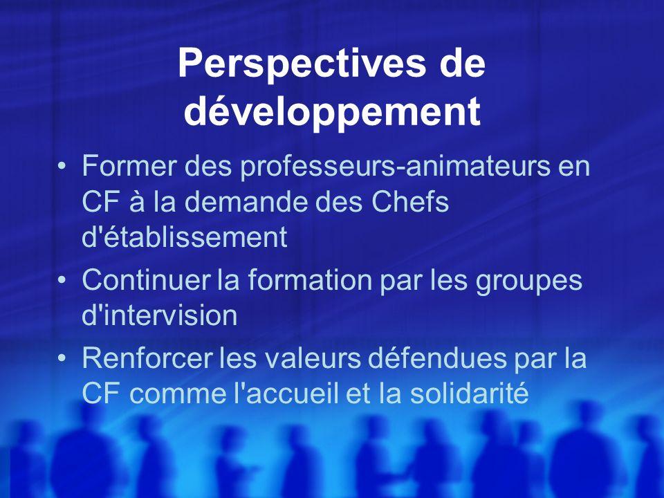 Perspectives de développement Former des professeurs-animateurs en CF à la demande des Chefs d établissement Continuer la formation par les groupes d intervision Renforcer les valeurs défendues par la CF comme l accueil et la solidarité