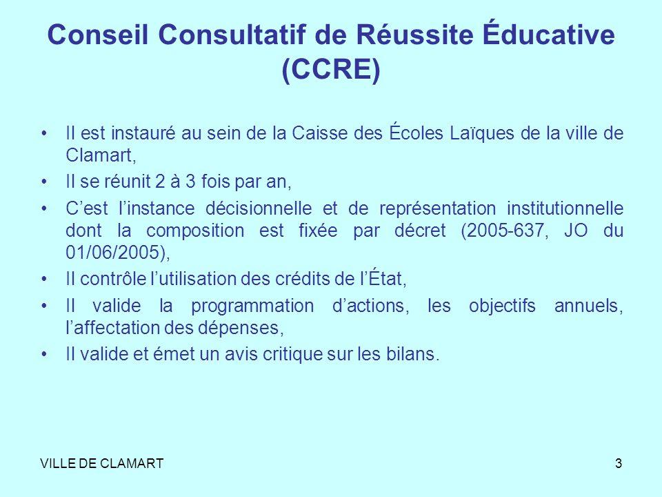 VILLE DE CLAMART3 Conseil Consultatif de Réussite Éducative (CCRE) Il est instauré au sein de la Caisse des Écoles Laïques de la ville de Clamart, Il