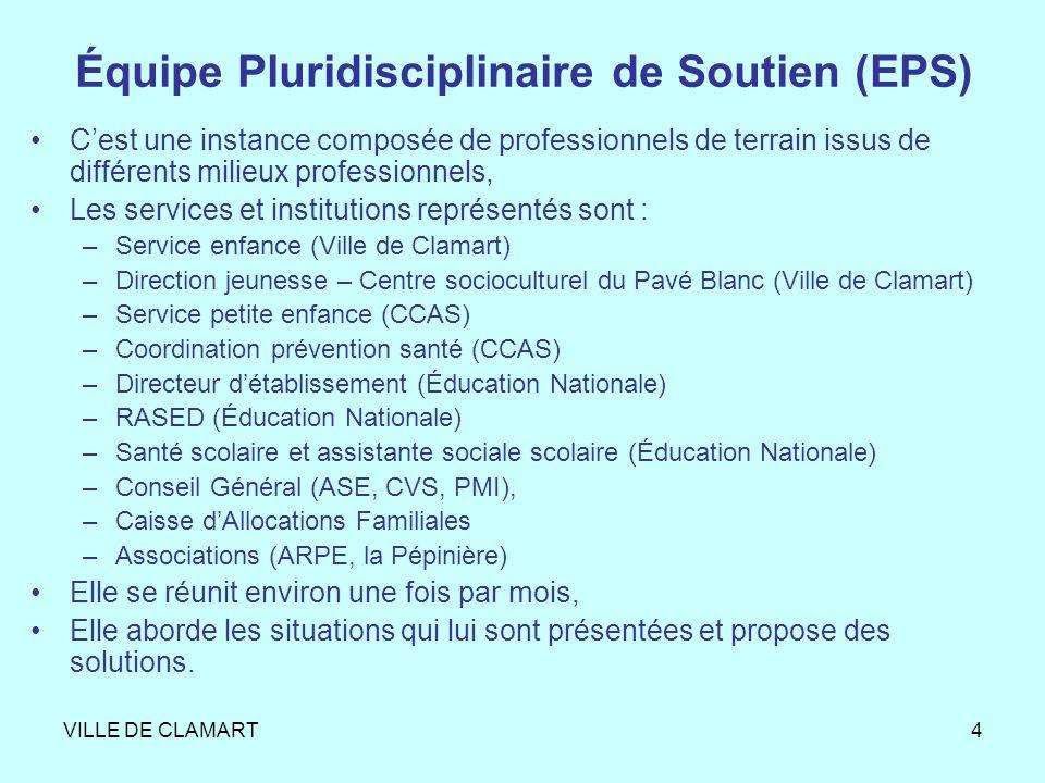VILLE DE CLAMART4 Équipe Pluridisciplinaire de Soutien (EPS) Cest une instance composée de professionnels de terrain issus de différents milieux profe