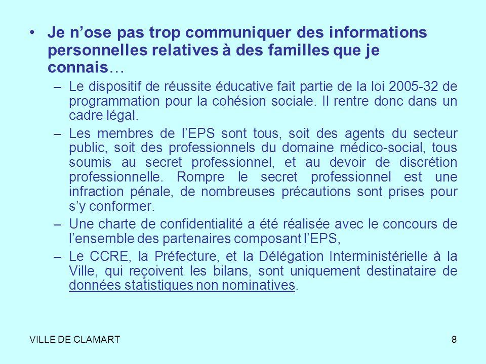 VILLE DE CLAMART8 Je nose pas trop communiquer des informations personnelles relatives à des familles que je connais… –Le dispositif de réussite éduca