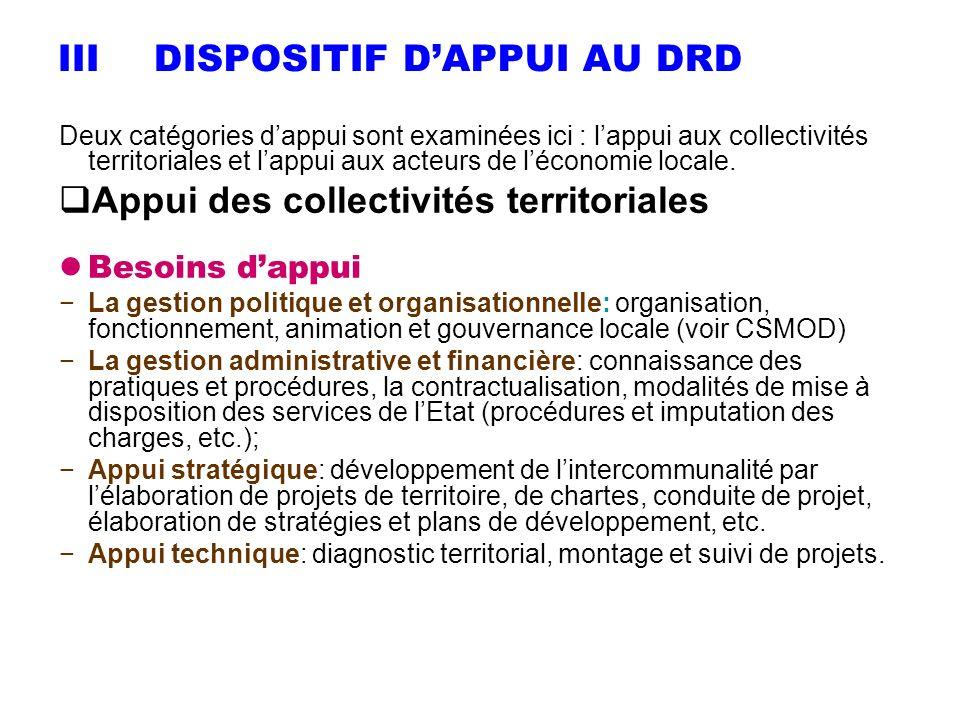 IIIDISPOSITIF DAPPUI AU DRD Deux catégories dappui sont examinées ici : lappui aux collectivités territoriales et lappui aux acteurs de léconomie loca