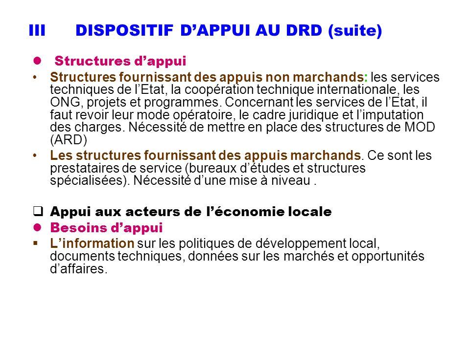 IIIDISPOSITIF DAPPUI AU DRD (suite) Structures dappui Structures fournissant des appuis non marchands: les services techniques de lEtat, la coopératio