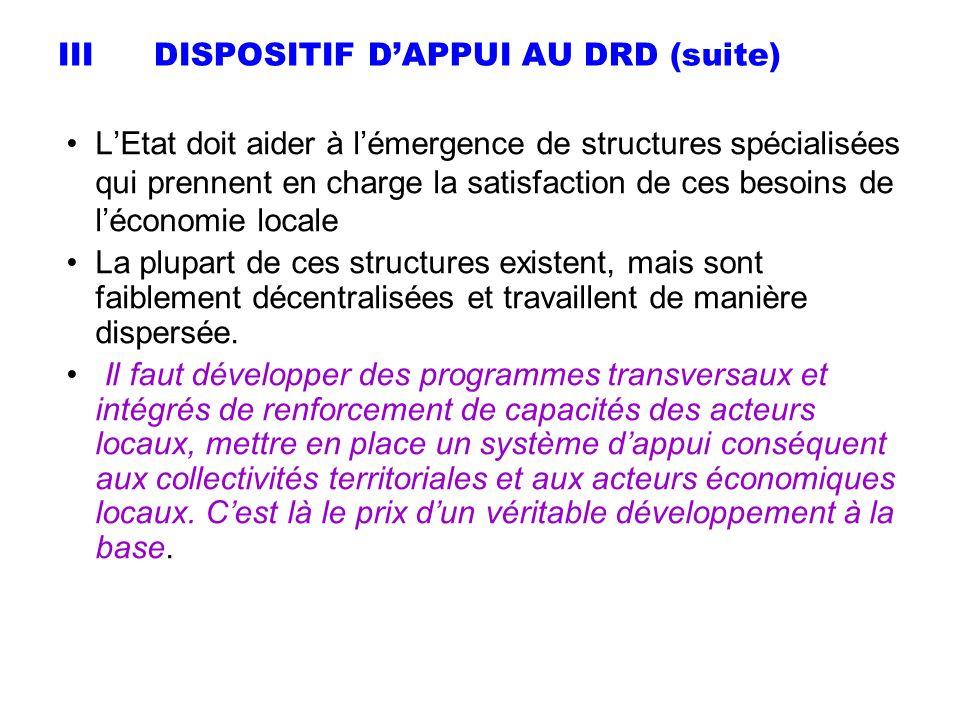 IIIDISPOSITIF DAPPUI AU DRD (suite) LEtat doit aider à lémergence de structures spécialisées qui prennent en charge la satisfaction de ces besoins de