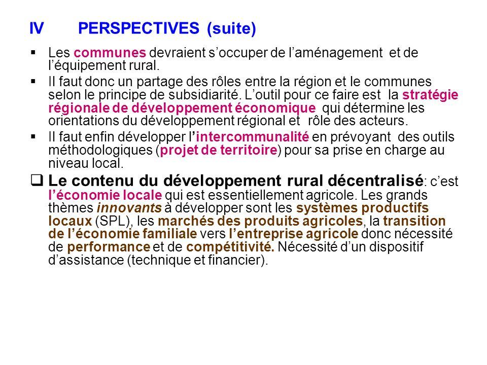 IVPERSPECTIVES (suite) Les communes devraient soccuper de laménagement et de léquipement rural. Il faut donc un partage des rôles entre la région et l