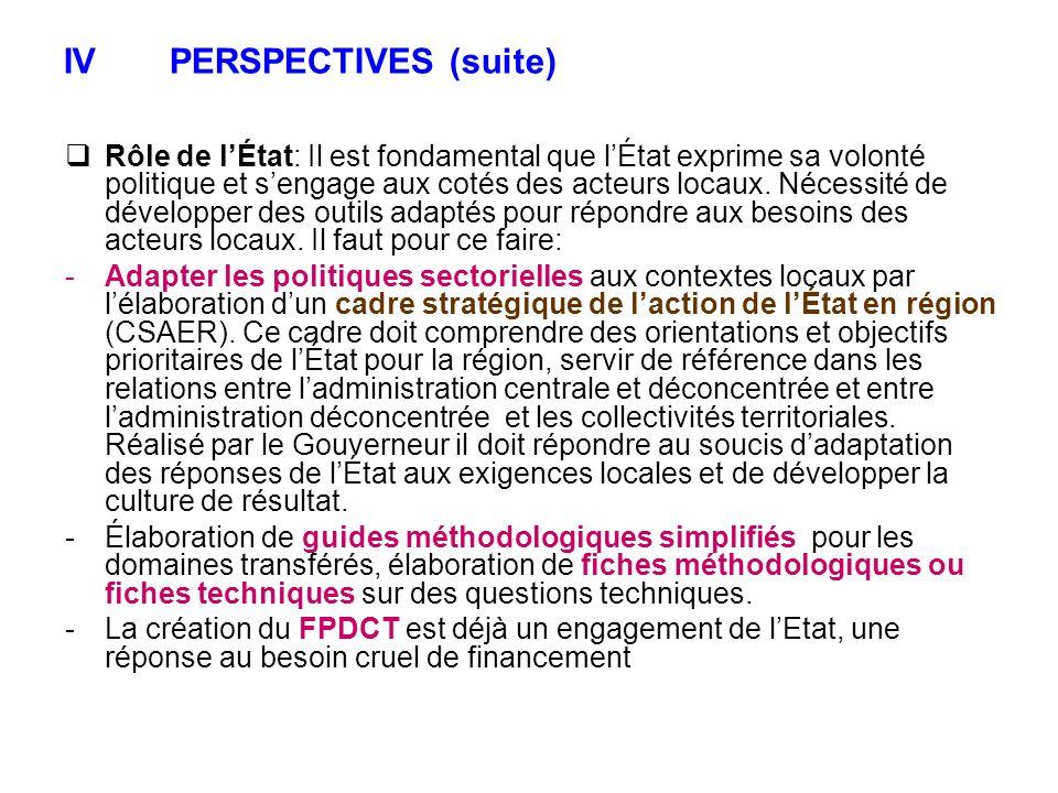 IVPERSPECTIVES (suite) Rôle de lÉtat: Il est fondamental que lÉtat exprime sa volonté politique et sengage aux cotés des acteurs locaux. Nécessité de