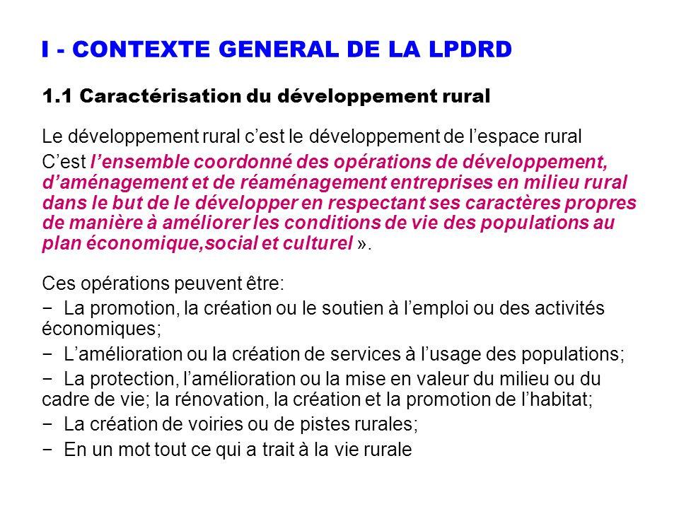 I - CONTEXTE GENERAL DE LA LPDRD 1.1 Caractérisation du développement rural Le développement rural cest le développement de lespace rural Cest lensemb