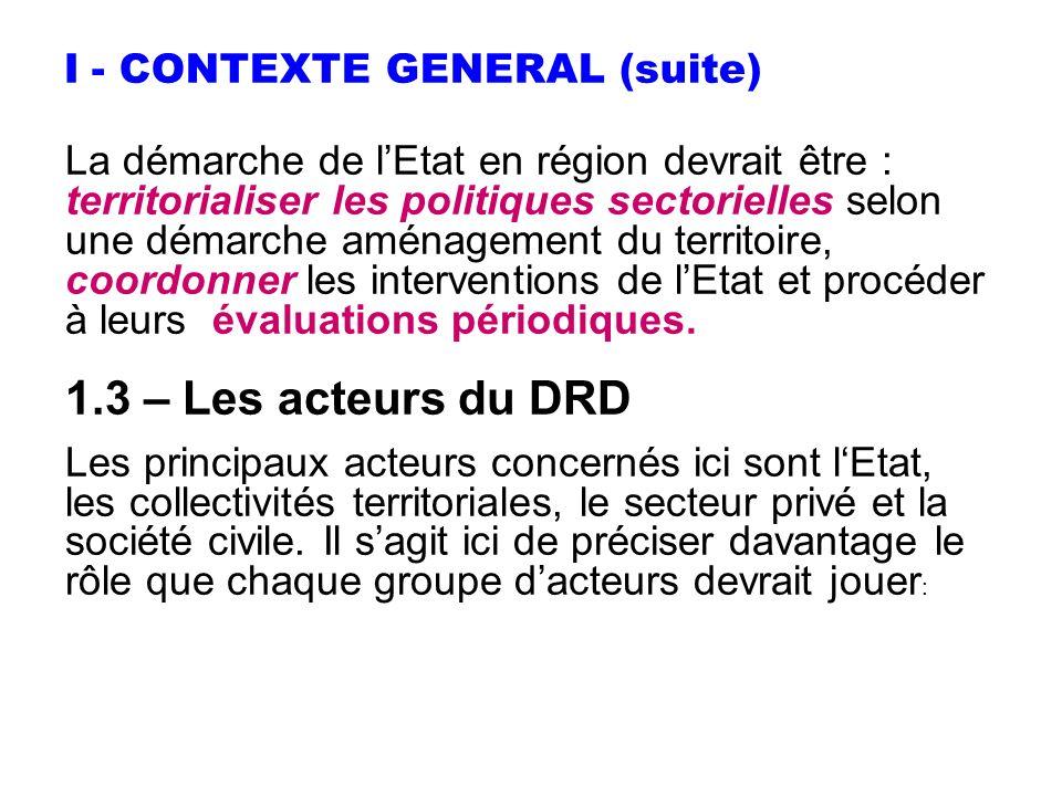 I - CONTEXTE GENERAL (suite) La démarche de lEtat en région devrait être : territorialiser les politiques sectorielles selon une démarche aménagement