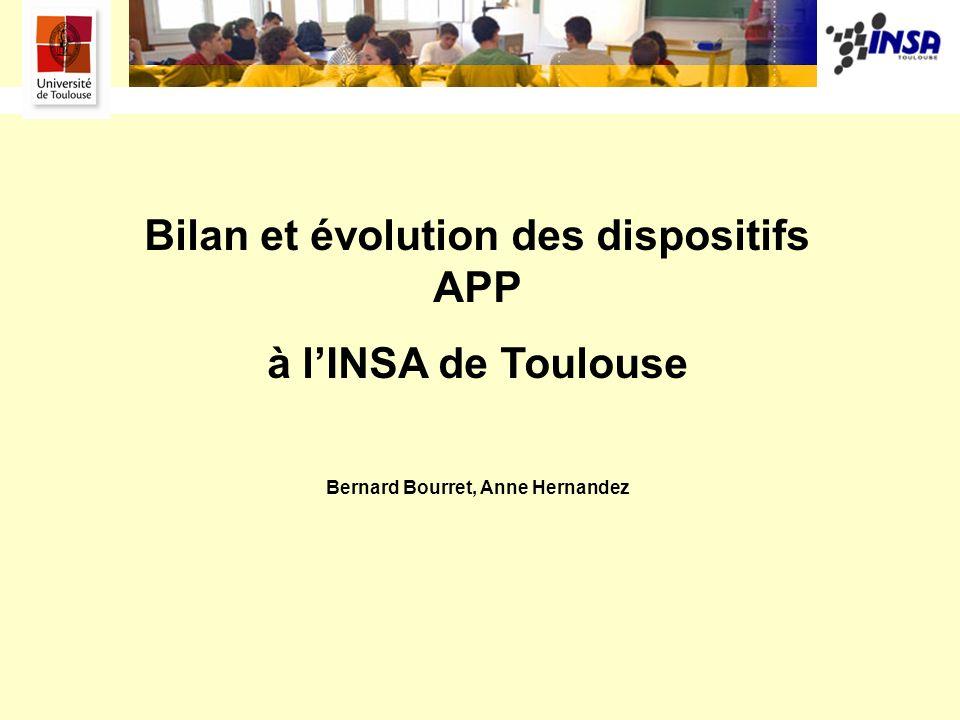 Bilan et évolution des dispositifs APP à lINSA de Toulouse Bernard Bourret, Anne Hernandez