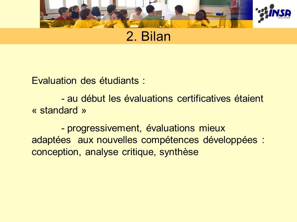 2. Bilan Evaluation des étudiants : - au début les évaluations certificatives étaient « standard » - progressivement, évaluations mieux adaptées aux n
