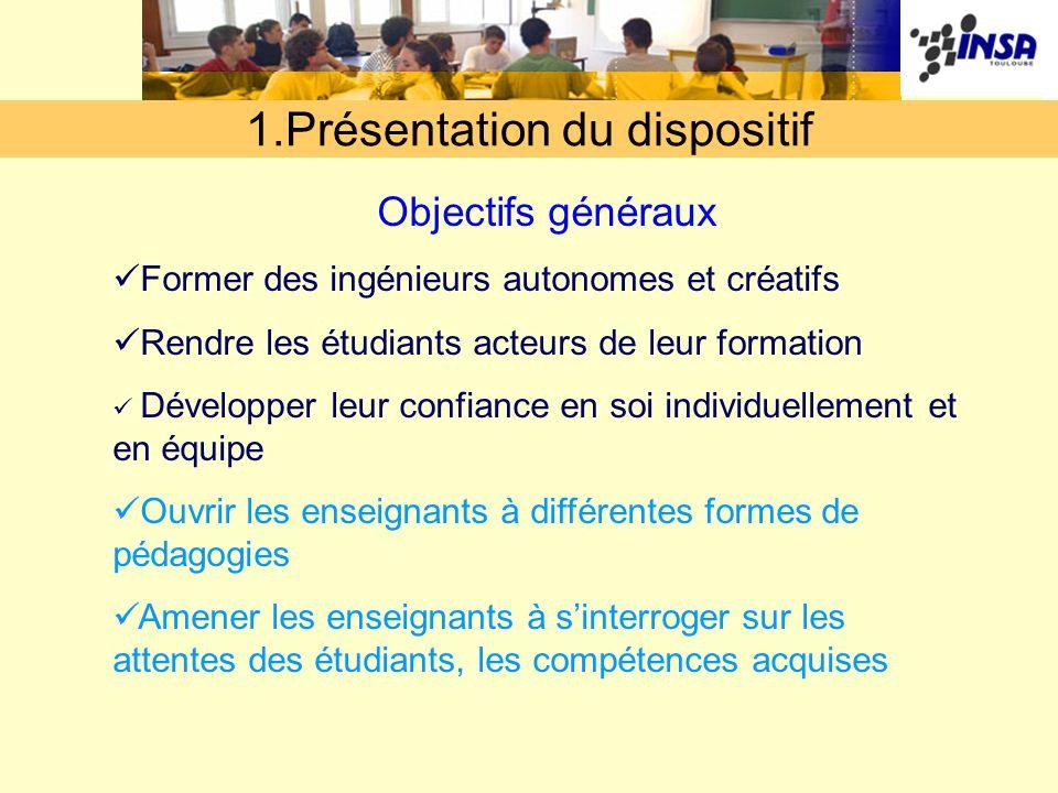 1.Présentation du dispositif Objectifs généraux Former des ingénieurs autonomes et créatifs Rendre les étudiants acteurs de leur formation Développer
