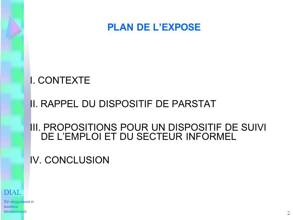 2 PLAN DE LEXPOSE I. CONTEXTE II. RAPPEL DU DISPOSITIF DE PARSTAT III.