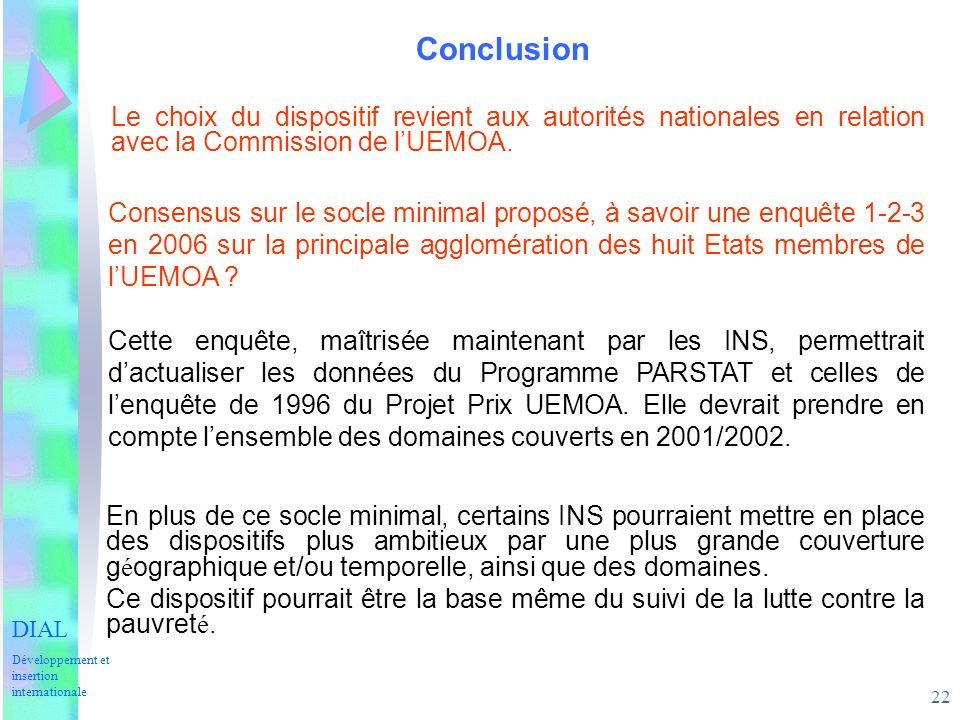 22 Conclusion DIAL Développement et insertion internationale Le choix du dispositif revient aux autorités nationales en relation avec la Commission de lUEMOA.
