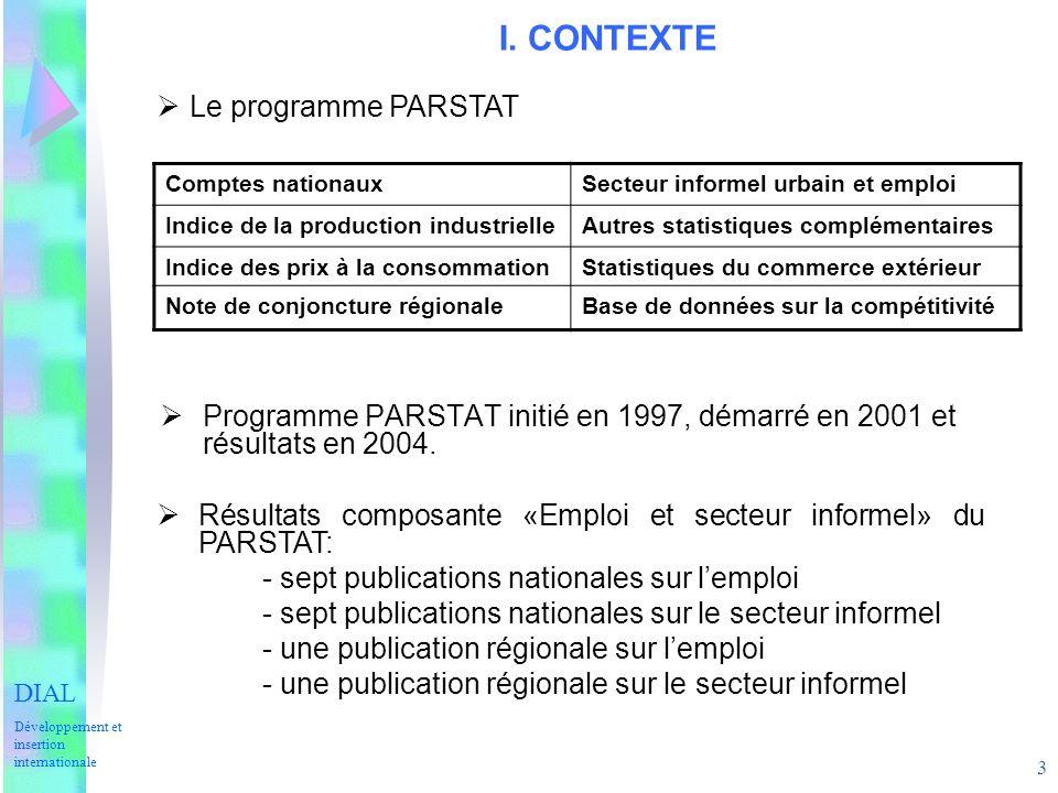 3 I. CONTEXTE Programme PARSTAT initié en 1997, démarré en 2001 et résultats en 2004.