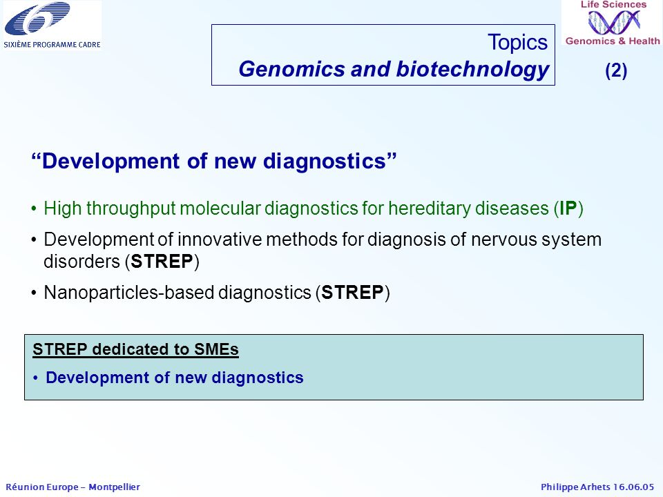 Philippe Arhets 16.06.05 Réunion Europe - Montpellier Topics Genomics and biotechnology (2) High throughput molecular diagnostics for hereditary disea