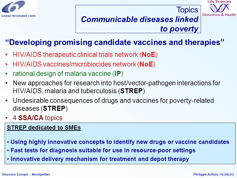 Philippe Arhets 16.06.05 Réunion Europe - Montpellier STREP dedicated to SMEs Using highly innovative concepts to identify new drugs or vaccine candid