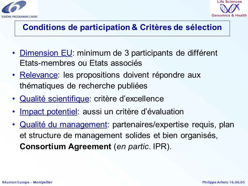 Philippe Arhets 16.06.05 Réunion Europe - Montpellier Bioinformatics (no topics in 2005) Multidisciplinary functional genomics approaches to basic biological processes Functional genomics of autosomal aneuploid syndromes (IP) The biological role of small regulatory RNAs (STREP) Topics Fundamental genomics STREP dedicated to SMEs Development of tools and technologies for functional genomics (2)