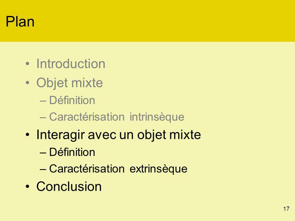 17 Plan Introduction Objet mixte –Définition –Caractérisation intrinsèque Interagir avec un objet mixte –Définition –Caractérisation extrinsèque Conclusion