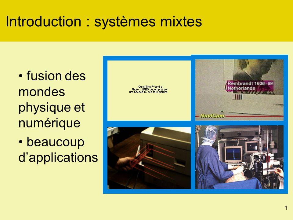 1 Introduction : systèmes mixtes fusion des mondes physique et numérique beaucoup dapplications
