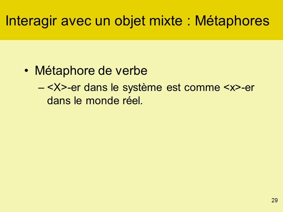 29 Interagir avec un objet mixte : Métaphores Métaphore de verbe – -er dans le système est comme -er dans le monde réel.