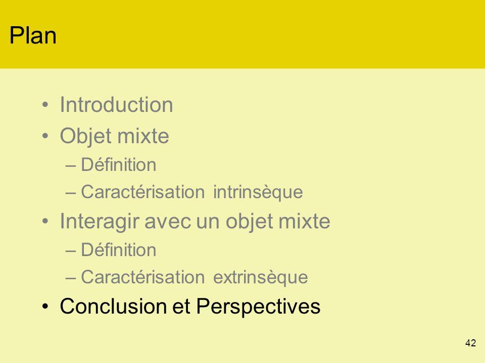 42 Plan Introduction Objet mixte –Définition –Caractérisation intrinsèque Interagir avec un objet mixte –Définition –Caractérisation extrinsèque Conclusion et Perspectives