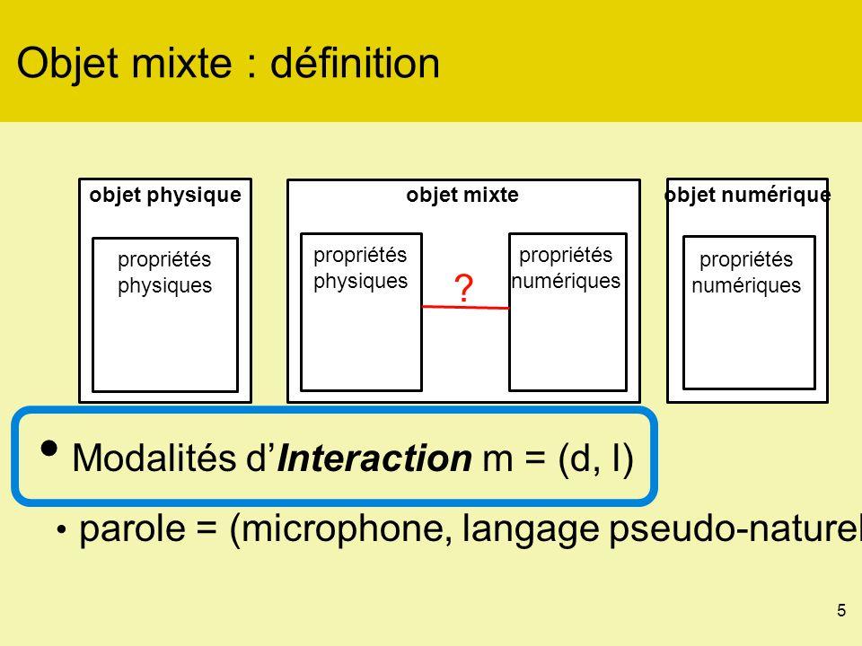 26 Interagir avec un objet mixte : Métaphore de nom langage dinteraction en entrée [x, y] caméravision proj.