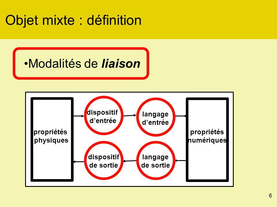 6 Objet mixte : définition Modalités de liaison propriétés physiques propriétés numériques dispositif dentrée dispositif de sortie langage de sortie langage dentrée