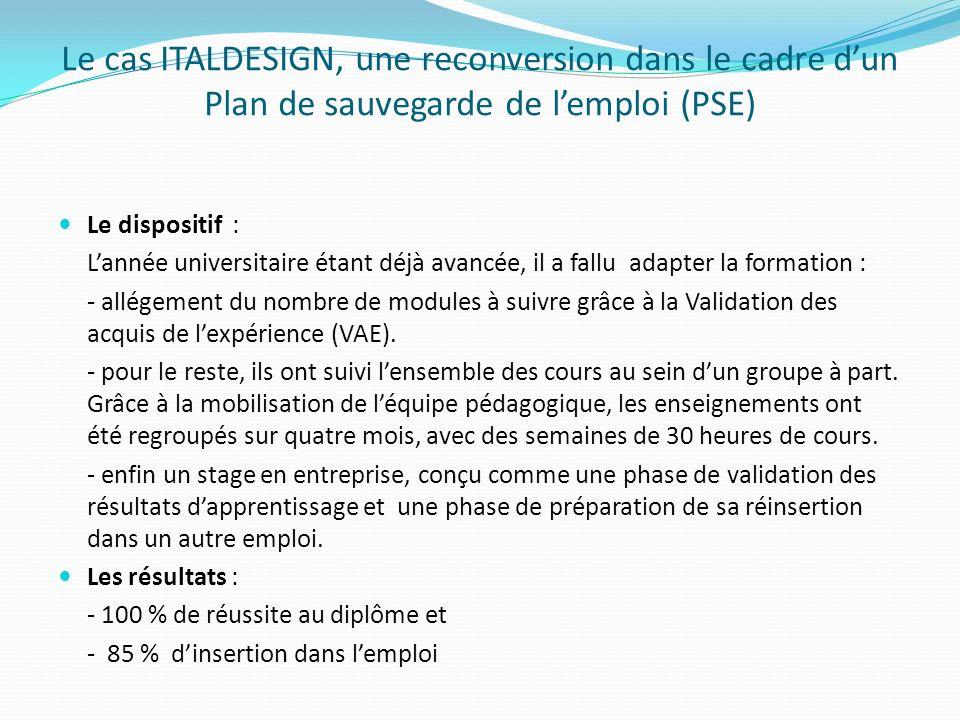 Le cas ITALDESIGN, une reconversion dans le cadre dun Plan de sauvegarde de lemploi (PSE) Le dispositif : Lannée universitaire étant déjà avancée, il a fallu adapter la formation : - allégement du nombre de modules à suivre grâce à la Validation des acquis de lexpérience (VAE).