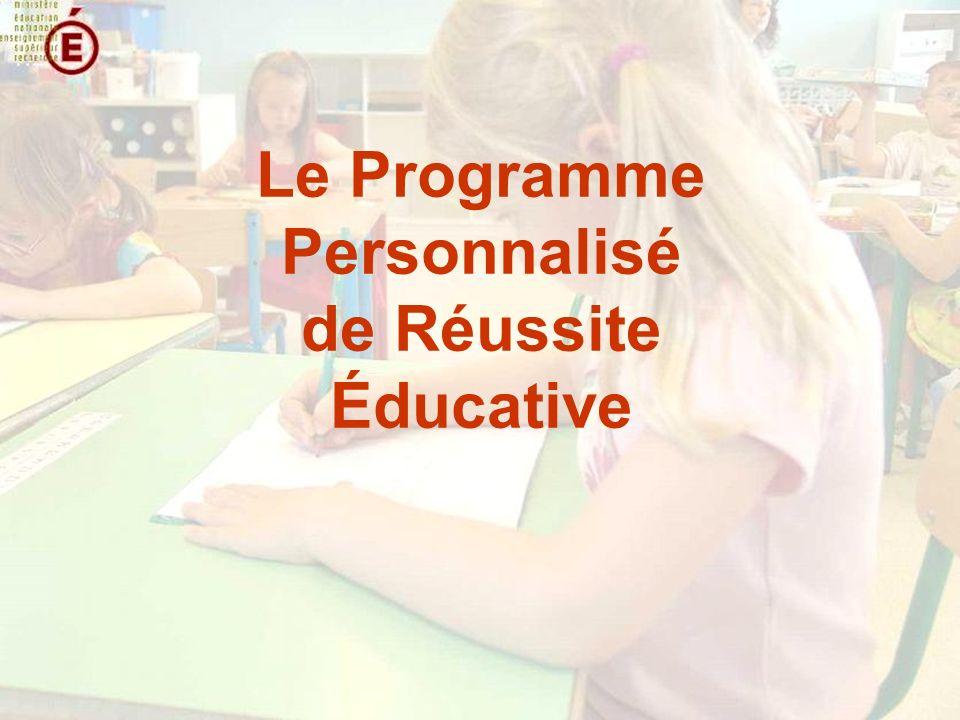 Le Programme Personnalisé de Réussite Éducative