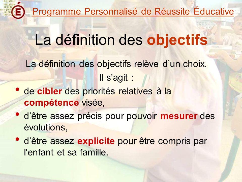 La définition des objectifs La définition des objectifs relève dun choix.