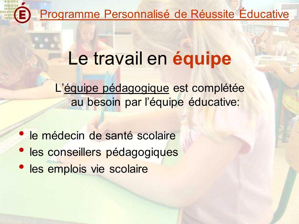 Le travail en équipe Léquipe pédagogique est complétée au besoin par léquipe éducative: le médecin de santé scolaire les conseillers pédagogiques les emplois vie scolaire Programme Personnalisé de Réussite Éducative