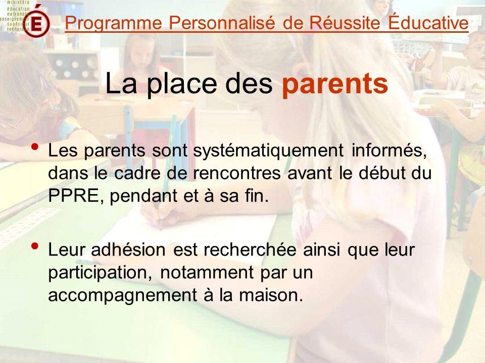 La place des parents Les parents sont systématiquement informés, dans le cadre de rencontres avant le début du PPRE, pendant et à sa fin.