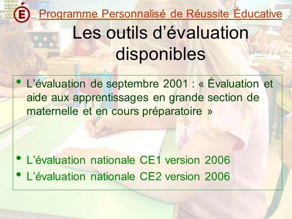 Les outils dévaluation disponibles Lévaluation de septembre 2001 : « Évaluation et aide aux apprentissages en grande section de maternelle et en cours préparatoire » Lévaluation nationale CE1 version 2006 Lévaluation nationale CE2 version 2006 Programme Personnalisé de Réussite Éducative