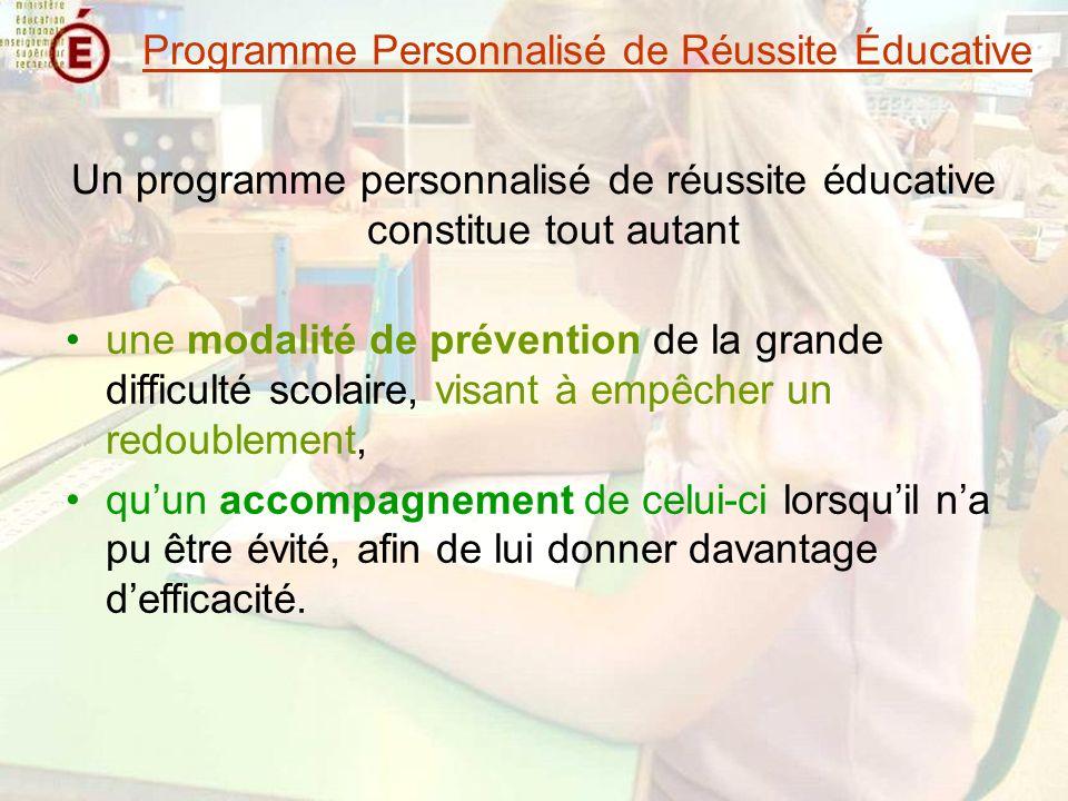 Le travail en équipe Des rôles spécifiques et déterminants Le rôle de lenseignant de la classe Le rôle du directeur Programme Personnalisé de Réussite Éducative