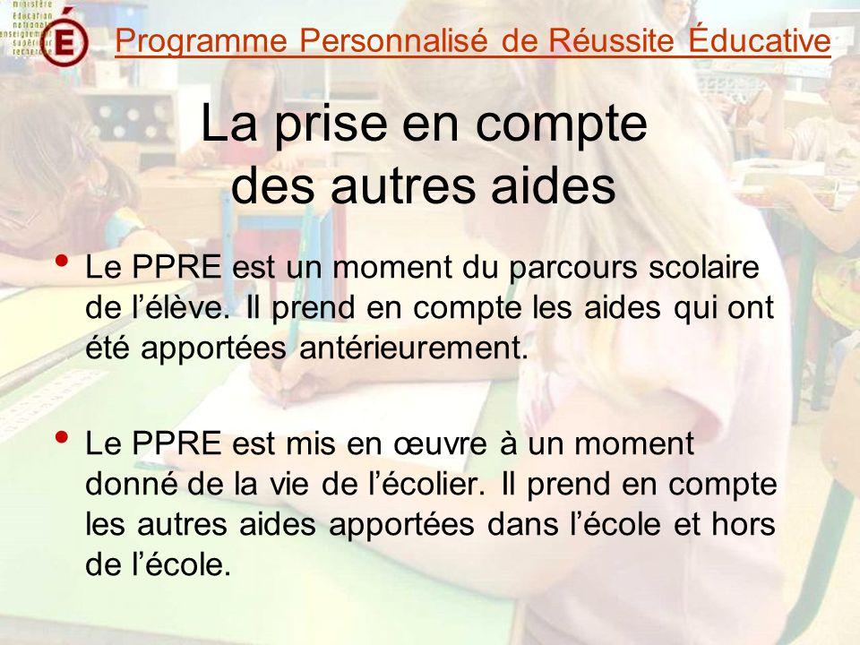 La prise en compte des autres aides Le PPRE est un moment du parcours scolaire de lélève.