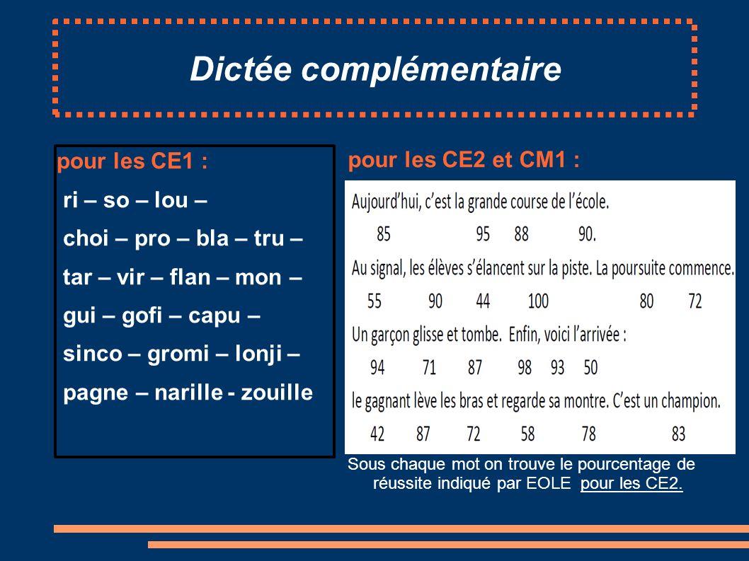 Dictée complémentaire pour les CE1 : ri – so – lou – choi – pro – bla – tru – tar – vir – flan – mon – gui – gofi – capu – sinco – gromi – lonji – pagne – narille - zouille pour les CE2 et CM1 : Sous chaque mot on trouve le pourcentage de réussite indiqué par EOLE pour les CE2.