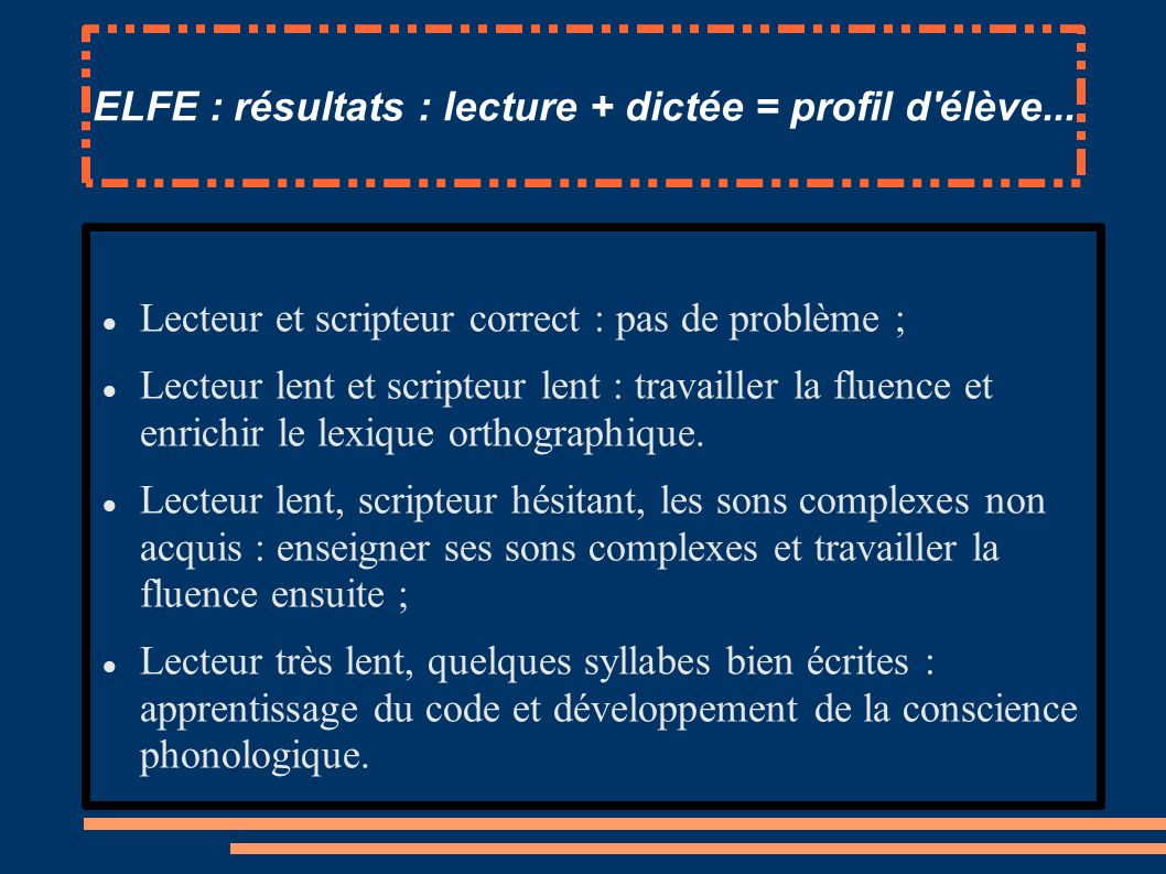 ELFE : résultats : lecture + dictée = profil d'élève... Lecteur et scripteur correct : pas de problème ; Lecteur lent et scripteur lent : travailler l
