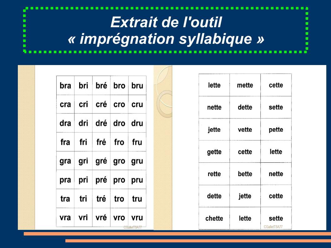 Extrait de l'outil « imprégnation syllabique »