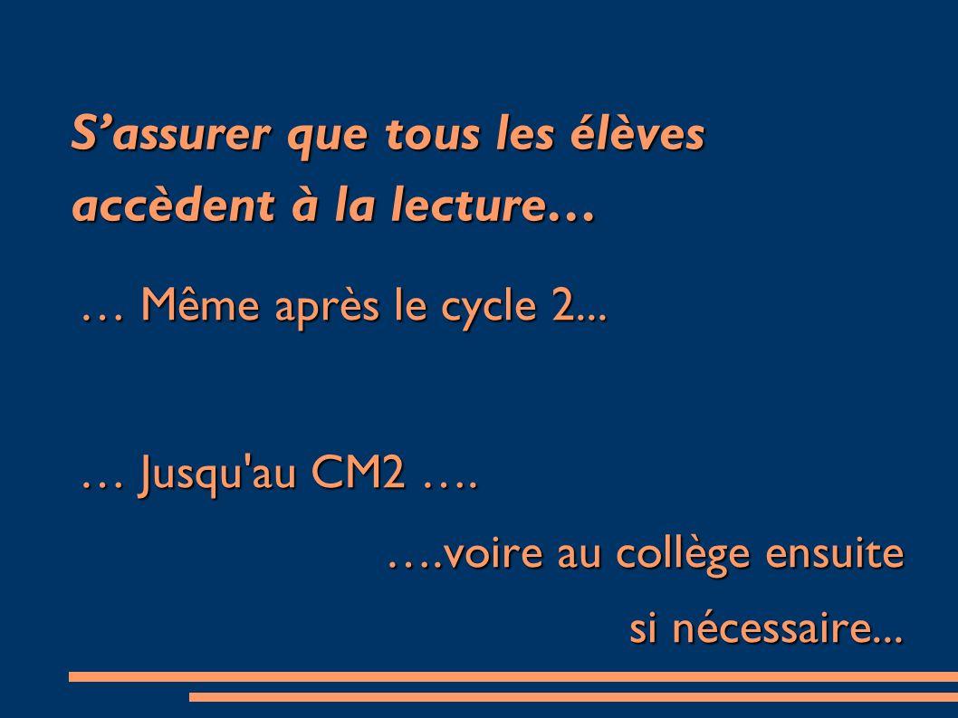 Sassurer que tous les élèves accèdent à la lecture… … Même après le cycle 2... … Jusqu'au CM2 …. ….voire au collège ensuite si nécessaire...