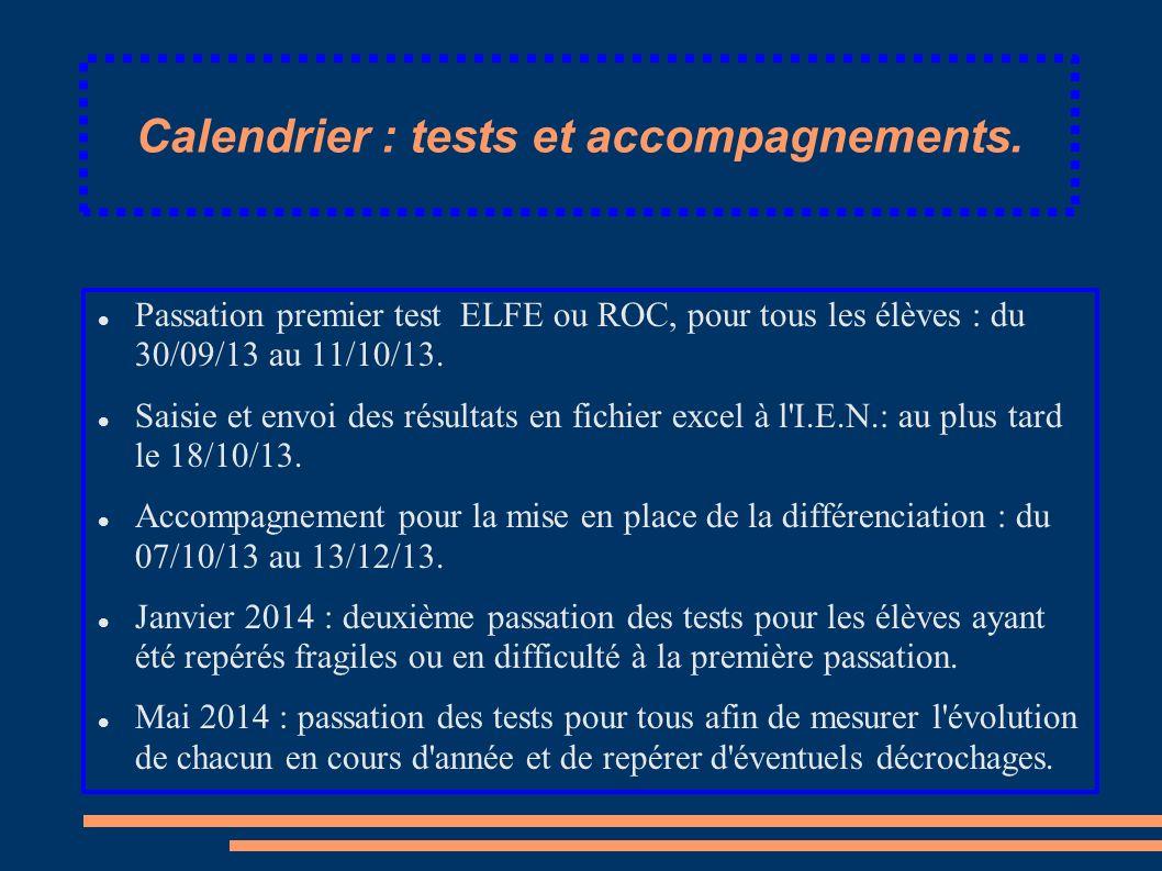 Calendrier : tests et accompagnements. Passation premier test ELFE ou ROC, pour tous les élèves : du 30/09/13 au 11/10/13. Saisie et envoi des résulta