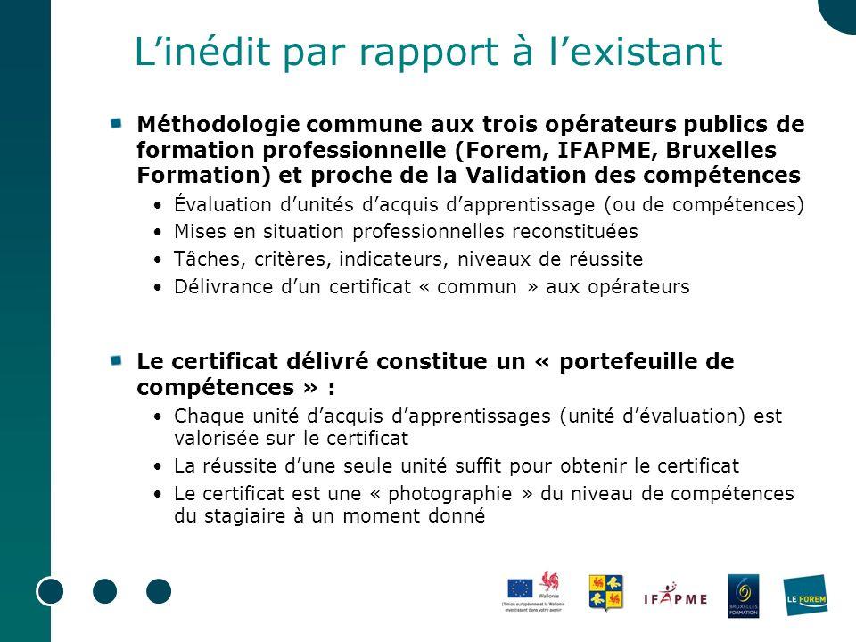 Méthodologie commune aux trois opérateurs publics de formation professionnelle (Forem, IFAPME, Bruxelles Formation) et proche de la Validation des com