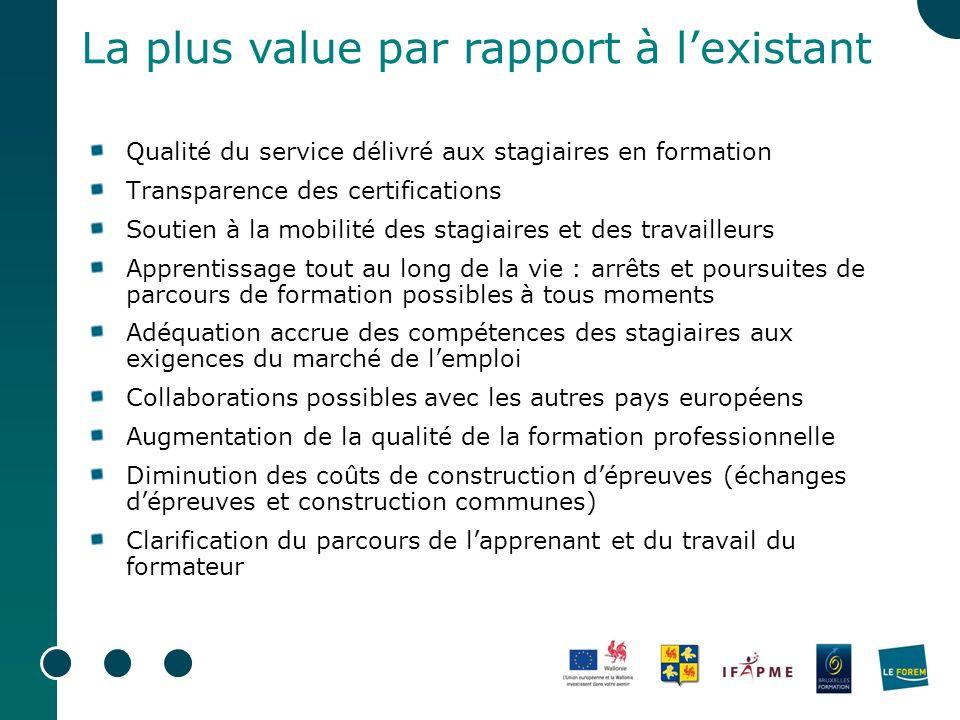Qualité du service délivré aux stagiaires en formation Transparence des certifications Soutien à la mobilité des stagiaires et des travailleurs Appren
