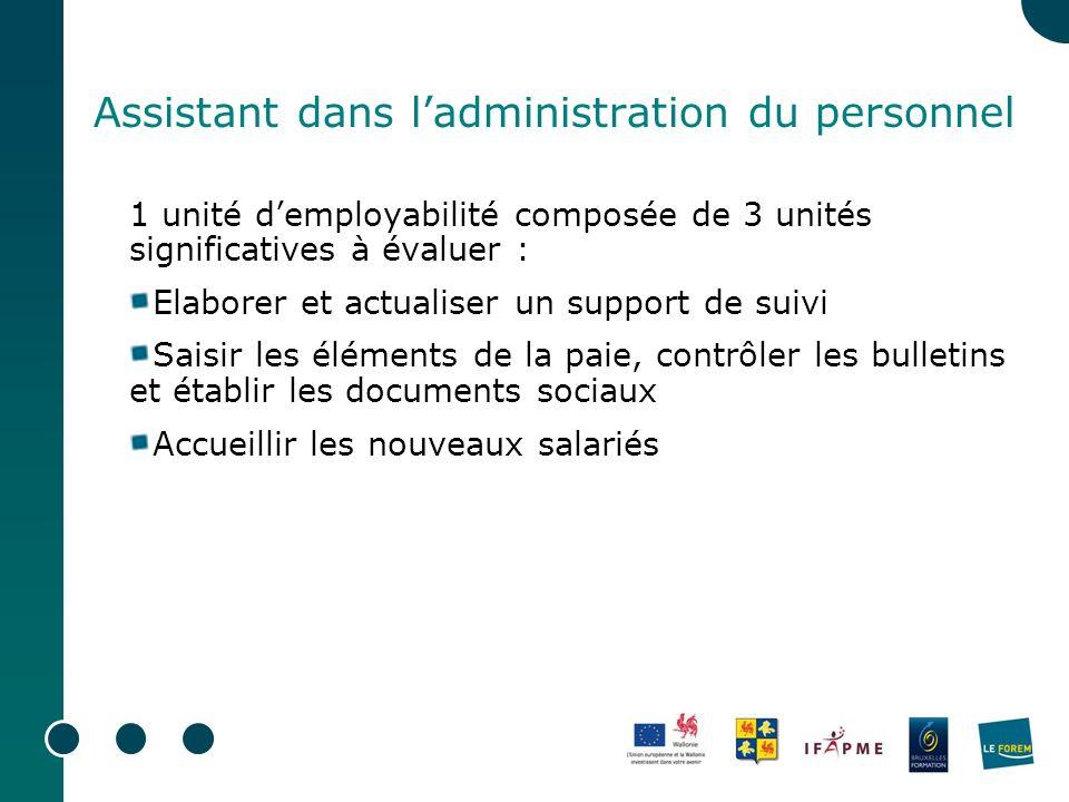 Assistant dans ladministration du personnel 1 unité demployabilité composée de 3 unités significatives à évaluer : Elaborer et actualiser un support d