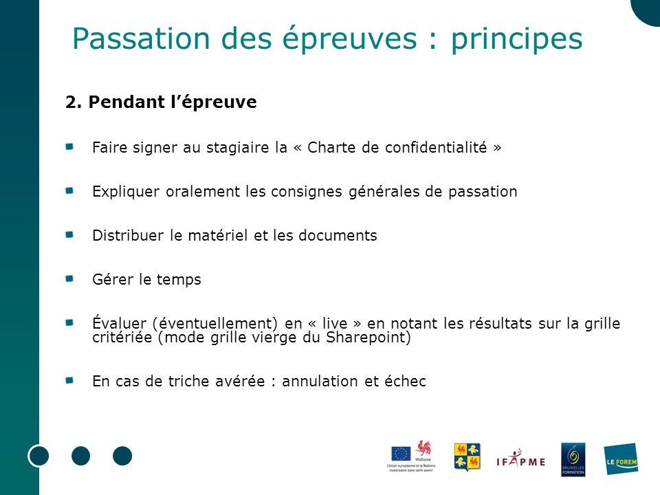 Passation des épreuves : principes 2.