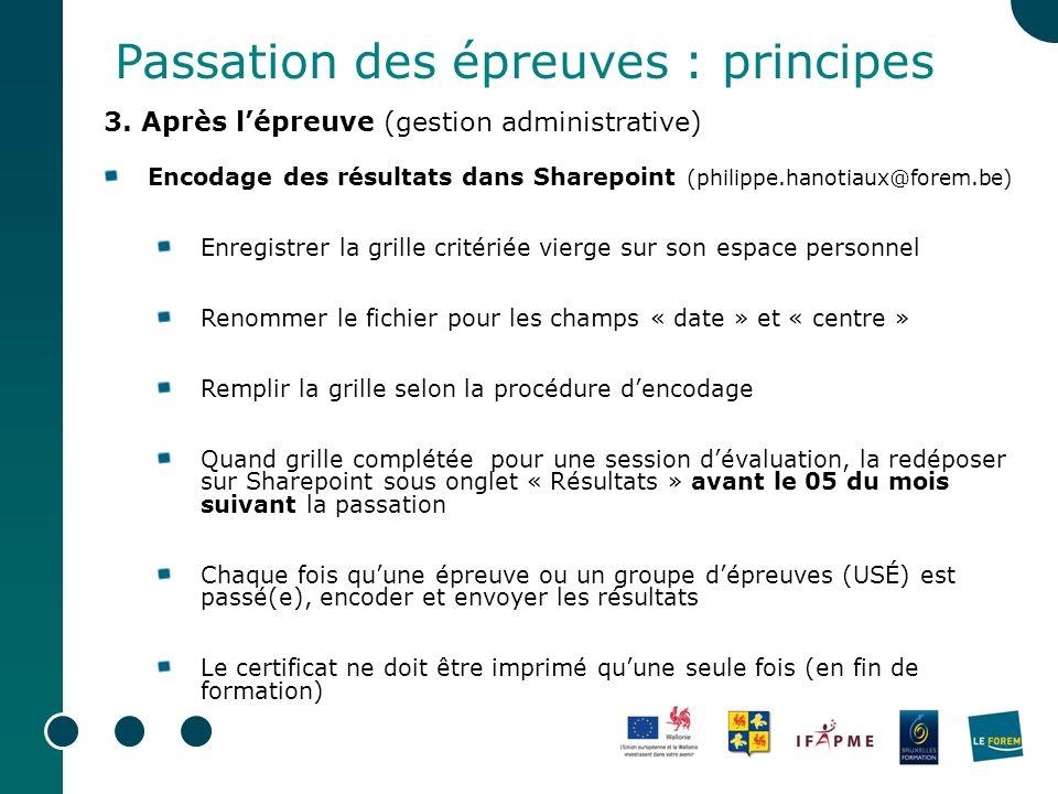 Passation des épreuves : principes 3. Après lépreuve (gestion administrative) Encodage des résultats dans Sharepoint (philippe.hanotiaux@forem.be) Enr