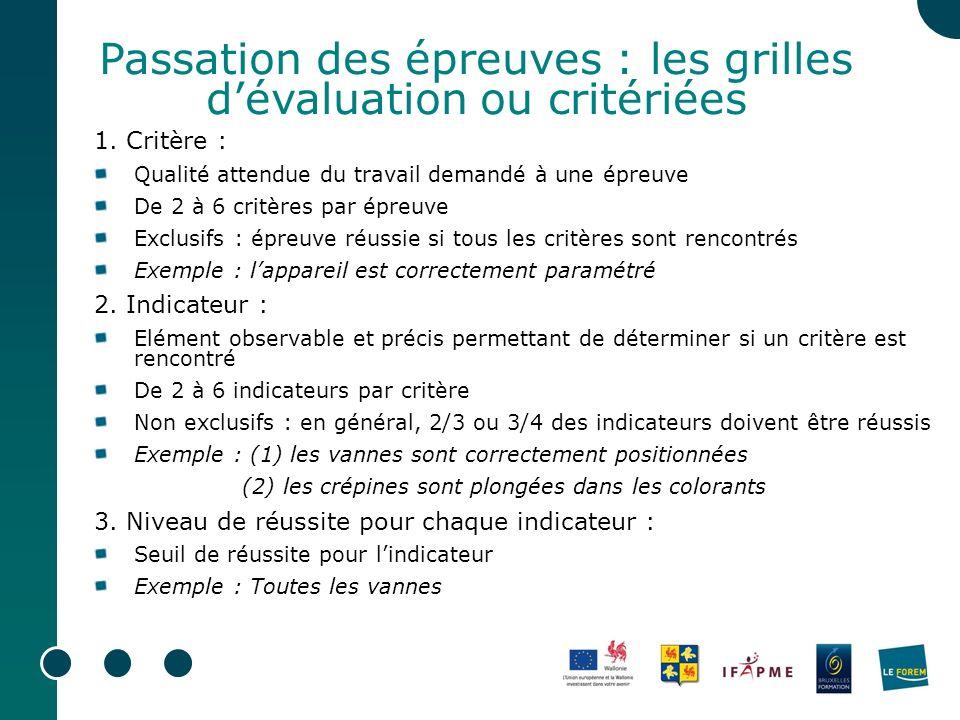 Passation des épreuves : les grilles dévaluation ou critériées 1. Critère : Qualité attendue du travail demandé à une épreuve De 2 à 6 critères par ép