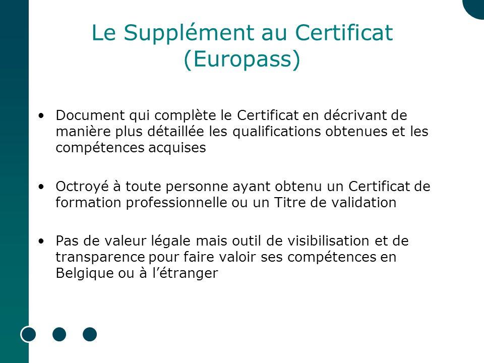 Le Supplément au Certificat (Europass) Document qui complète le Certificat en décrivant de manière plus détaillée les qualifications obtenues et les compétences acquises Octroyé à toute personne ayant obtenu un Certificat de formation professionnelle ou un Titre de validation Pas de valeur légale mais outil de visibilisation et de transparence pour faire valoir ses compétences en Belgique ou à létranger