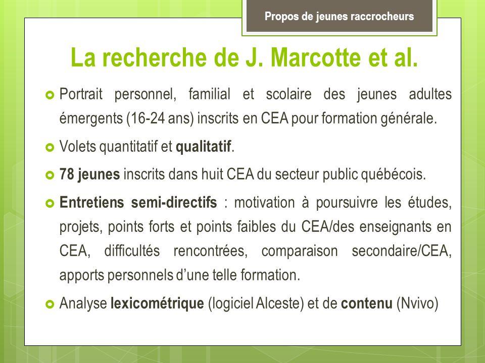 La recherche de J. Marcotte et al. Portrait personnel, familial et scolaire des jeunes adultes émergents (16-24 ans) inscrits en CEA pour formation gé